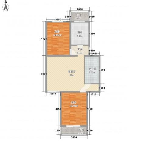 天泰新景温泉小区2室1厅1卫1厨91.00㎡户型图