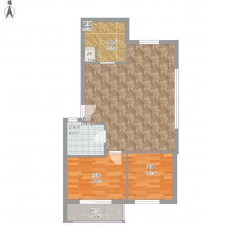 友兰园丁园2室1厅1卫1厨83.00㎡户型图