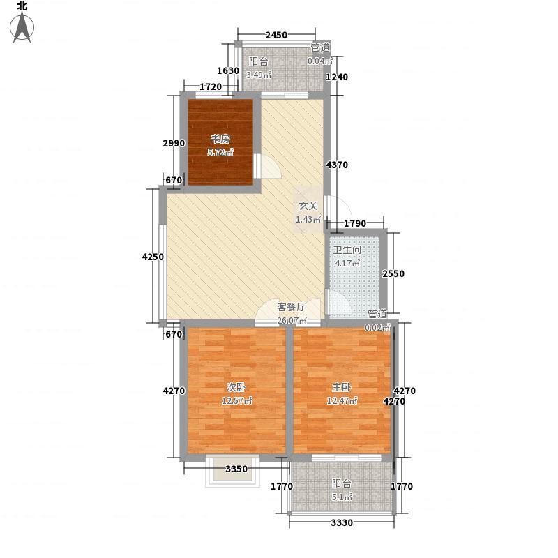 驸马花园14.43㎡户型3室2厅1卫1厨