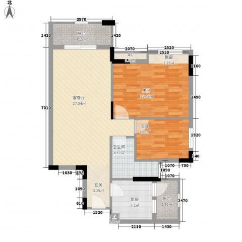 富海花园2室1厅1卫1厨88.00㎡户型图