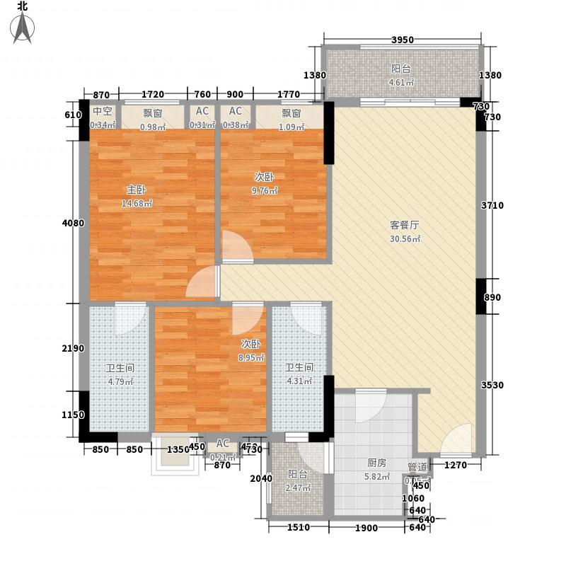 富海花园户型图1栋403单元 3室2厅