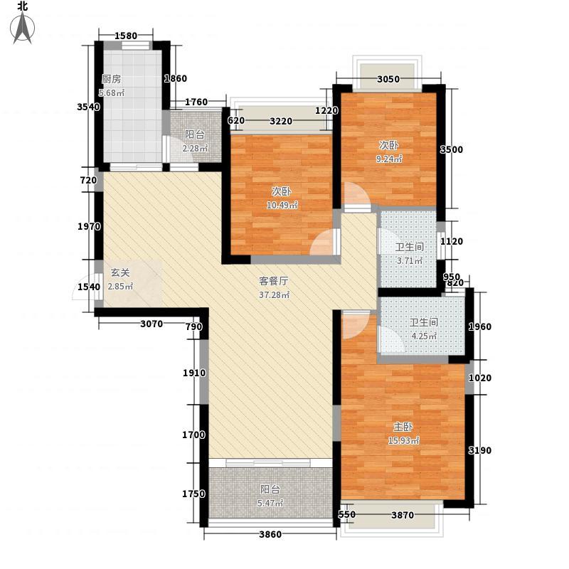 南昌恒大绿洲135.50㎡二期5号楼2单元1号户型3室2厅2卫1厨