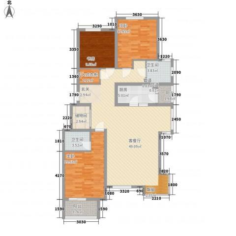 大陆榕花汇3室1厅2卫1厨141.00㎡户型图