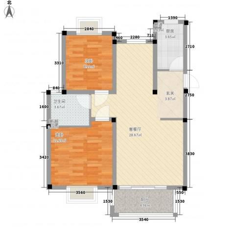 香江生态丽景2室1厅1卫1厨87.00㎡户型图