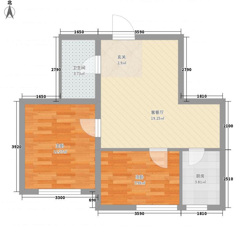 金奥新城58.00㎡金奥新城户型图2室2厅1卫户型10室