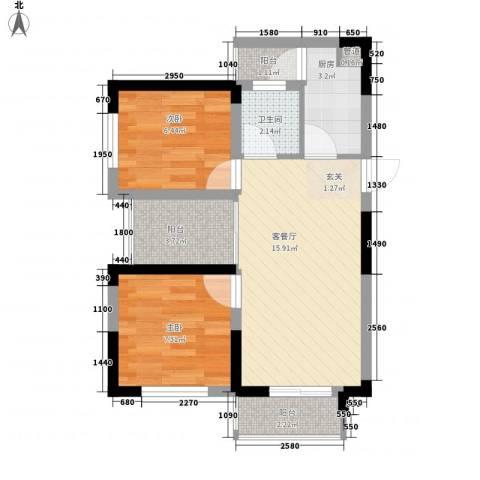 七里香榭2室1厅1卫1厨62.00㎡户型图