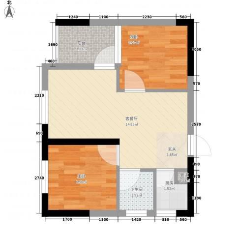 七里香榭2室1厅1卫1厨50.00㎡户型图