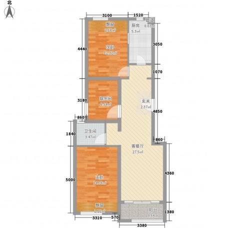 融创长滩壹号2室1厅1卫1厨105.00㎡户型图