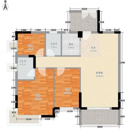 新中银花园3室0厅2卫1厨107.00㎡户型图