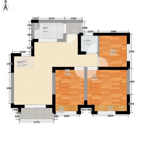 七里香榭3室1厅1卫1厨76.00㎡户型图