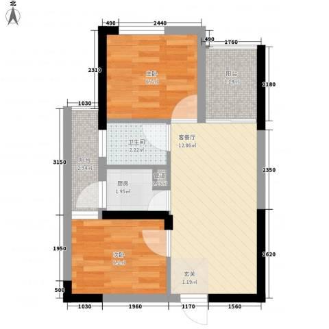 七里香榭2室1厅1卫1厨53.00㎡户型图