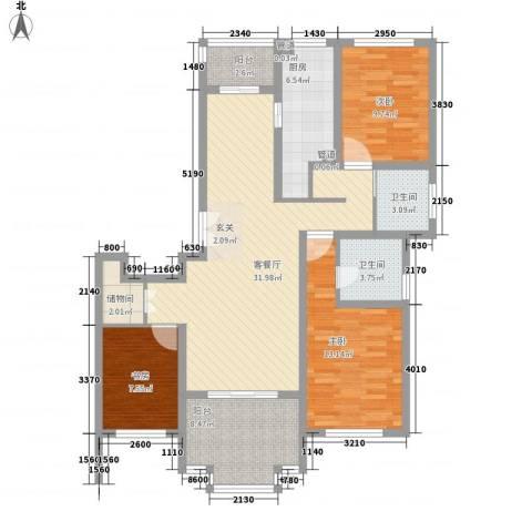 尚东国际名园3室1厅2卫1厨130.00㎡户型图