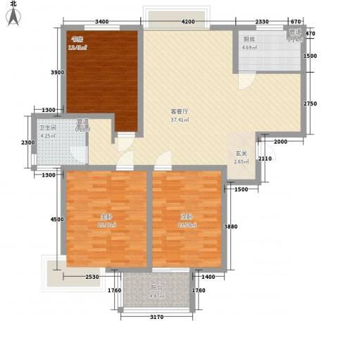 建院未来城3室1厅1卫1厨128.00㎡户型图