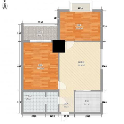 太阳岛公寓2室1厅1卫1厨92.00㎡户型图
