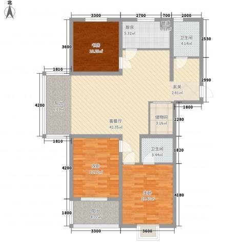 建院未来城3室1厅2卫1厨99.23㎡户型图