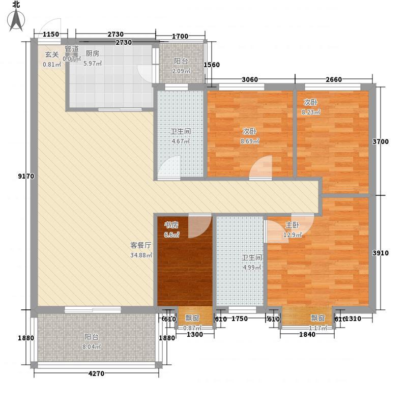 汇商花苑漫城户型图3栋02座03房标准层平面图  4室2厅2卫1厨