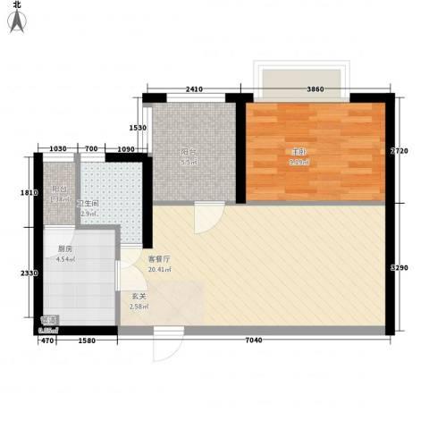 城市风景二期1室1厅1卫1厨50.00㎡户型图