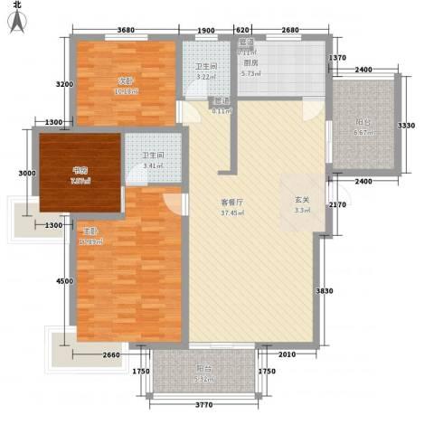 建院未来城3室1厅2卫1厨132.00㎡户型图
