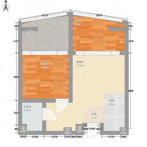 洱海国际生态城2室1厅1卫0厨58.00㎡户型图