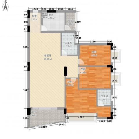 中南海晖园3室1厅2卫1厨117.00㎡户型图