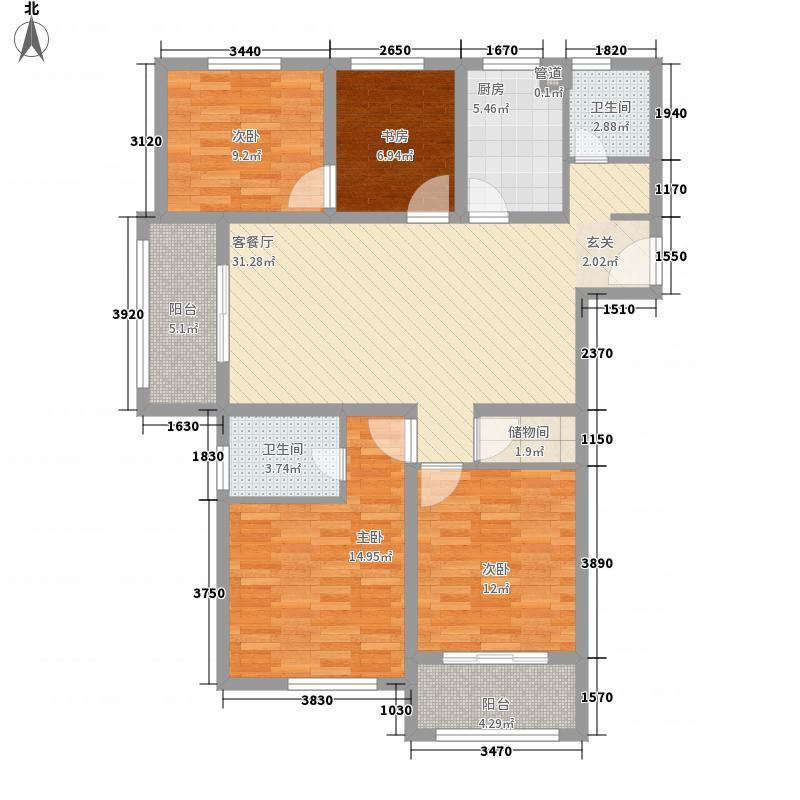 金润城142.00㎡金润城户型图一期18#楼E1户型4室2厅2卫1厨户型4室2厅2卫1厨