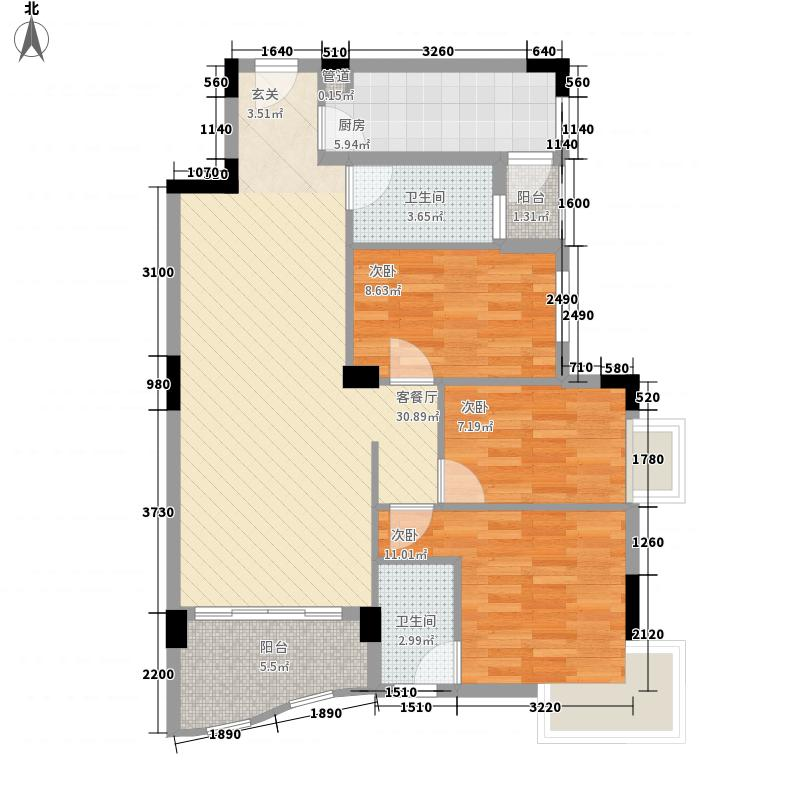 中南海晖园110.00㎡中南海晖园户型图13座01室3室2厅2卫户型3室2厅2卫