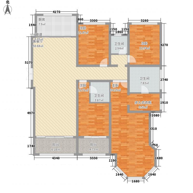 中南世纪城219.00㎡中南世纪城户型图68#标准层C户型4室2厅3卫1厨户型4室2厅3卫1厨