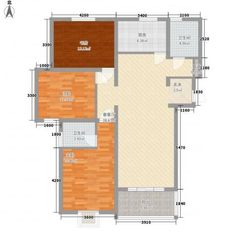 建院未来城3室1厅2卫1厨137.00㎡户型图