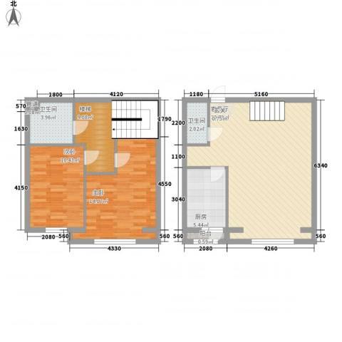 豪隆福顺江山2室1厅2卫1厨109.00㎡户型图