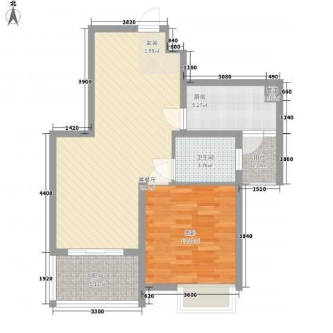 建院未来城1室1厅1卫1厨77.00㎡户型图