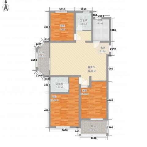 御水帝景城3室1厅2卫1厨131.00㎡户型图