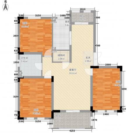 加州洋房3室1厅1卫1厨115.00㎡户型图