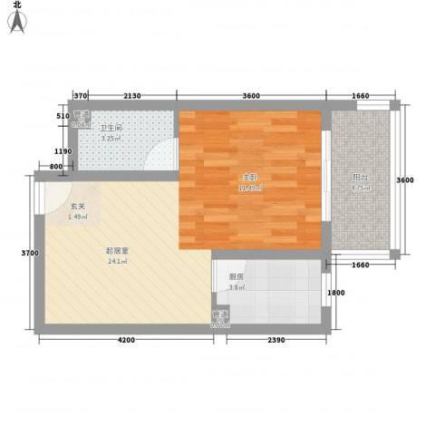 澳城大厦1卫1厨51.00㎡户型图