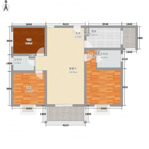 澳城大厦3室1厅2卫1厨125.00㎡户型图
