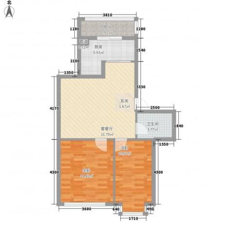 龙海山庄2室1厅1卫1厨86.00㎡户型图