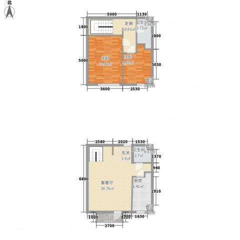 观筑庭园公寓2室1厅2卫1厨110.00㎡户型图