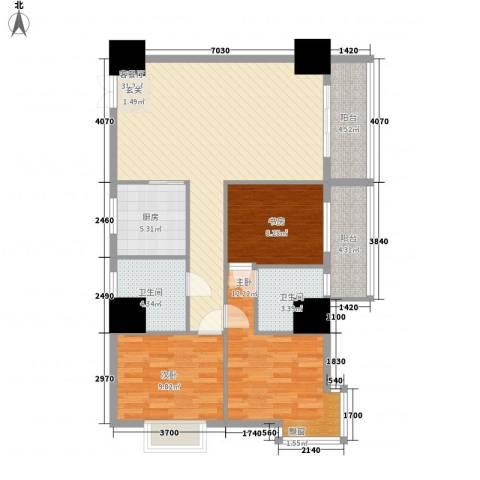 太阳岛公寓3室1厅2卫1厨122.00㎡户型图