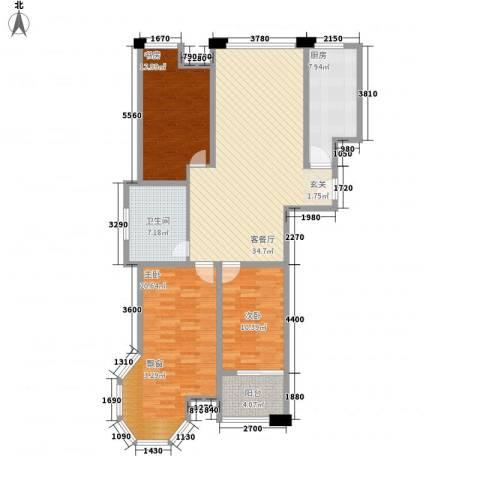 远航未来城3室1厅1卫1厨138.00㎡户型图