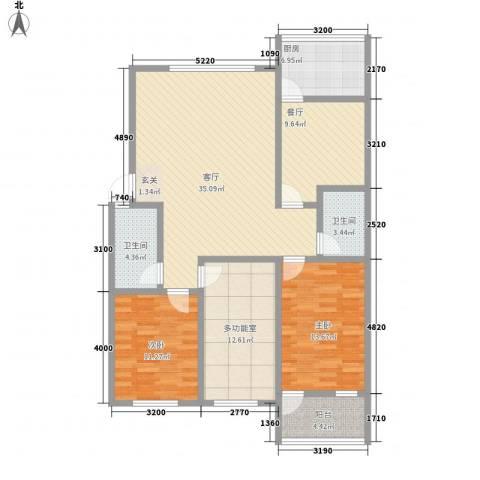 天成阳光花园2室2厅2卫1厨142.00㎡户型图