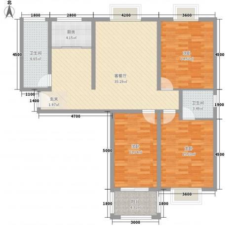 中瓯名城3室1厅2卫1厨135.00㎡户型图