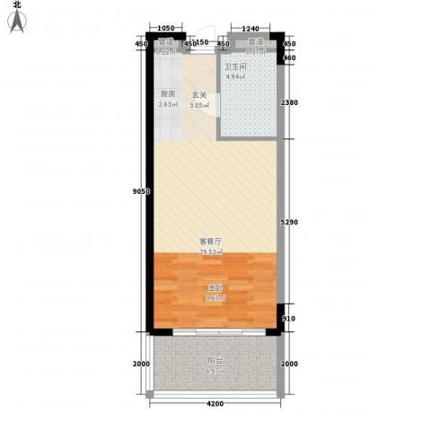 博鳌海御1厅1卫0厨63.00㎡户型图