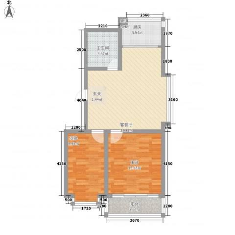 龙海山庄2室1厅1卫1厨84.00㎡户型图