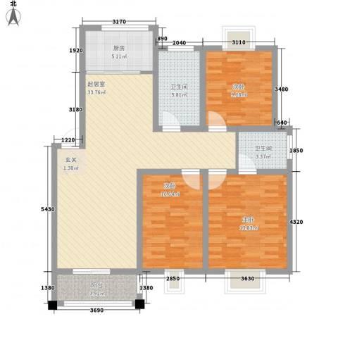 树人花园3室0厅2卫1厨123.00㎡户型图