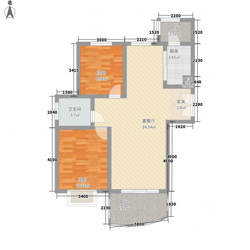 鸿运润园106.83㎡A-1户型2室2厅1卫1厨