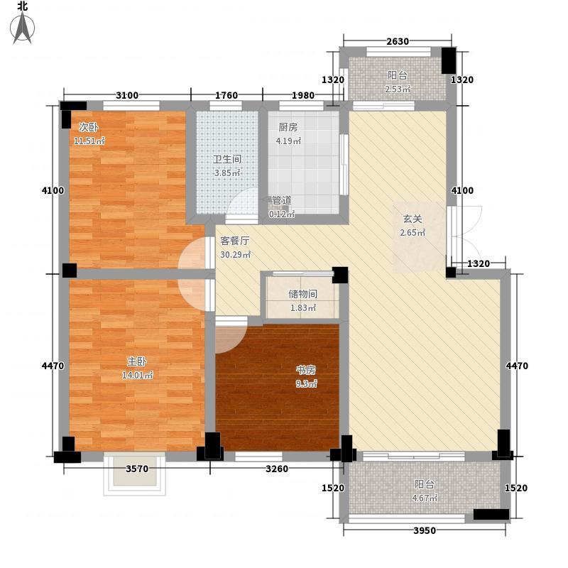 万方・水晶城18.80㎡三期13#B户型3室2厅1卫1厨