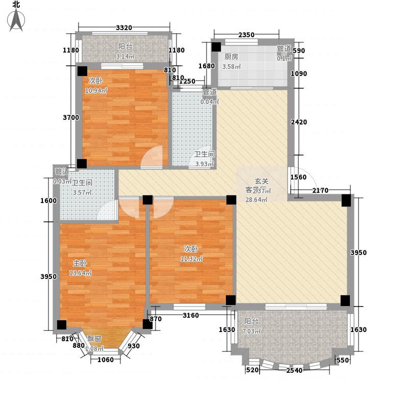 江山大名城122.00㎡18-21号楼B14户型3室2厅2卫1厨