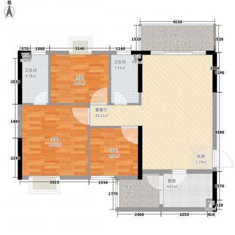 美陶花园3室1厅2卫1厨89.99㎡户型图