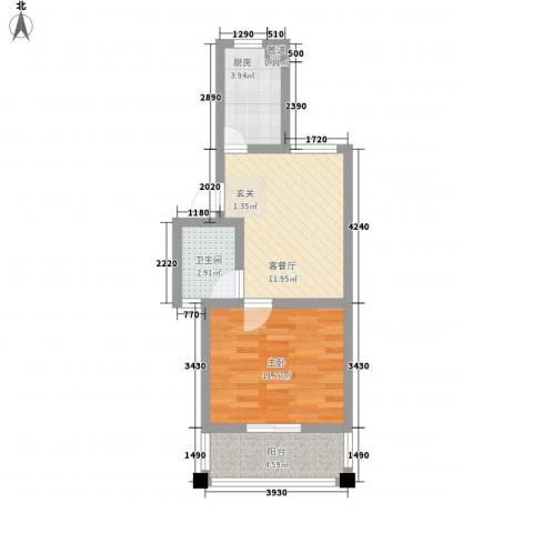 树人花园1室1厅1卫1厨53.00㎡户型图