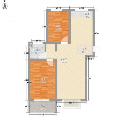 福馨景苑2室1厅1卫0厨73.68㎡户型图