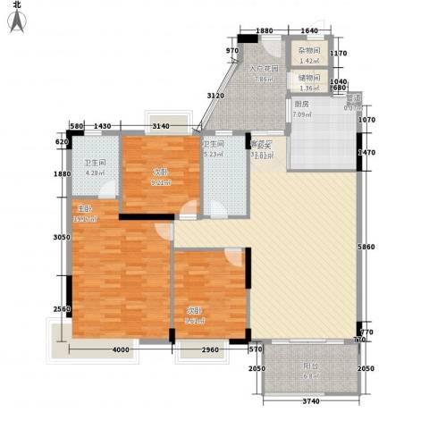石竹山水园3室1厅2卫1厨117.00㎡户型图